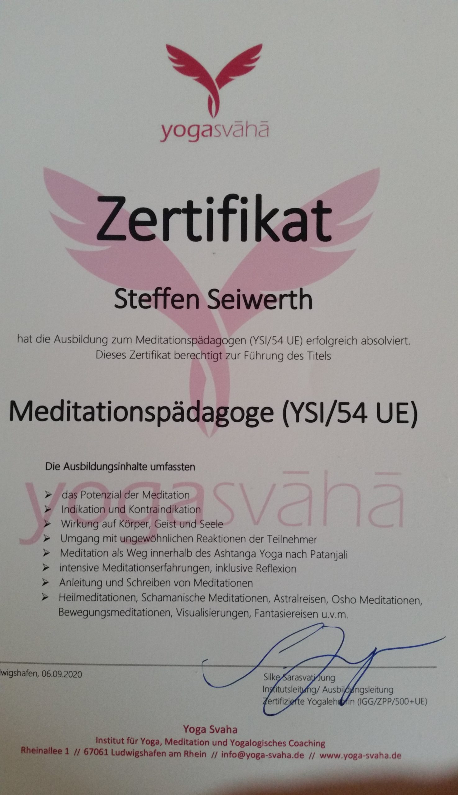 Ausbildung zum Meditationspädagogen im Yogasvaha Ludwigshafen